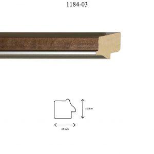 Moldura Lisa de perfil 1184, en acabado MARRÓN PLATA. Tamaño de la moldura 34m x 30mm.