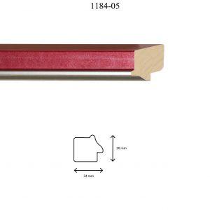 Moldura Lisa de perfil 1184, en acabado ROJO PLATA. Tamaño de la moldura 34m x 30mm.
