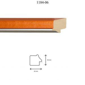 Moldura Lisa de perfil 1184, en acabado NARANJA PLATA. Tamaño de la moldura 34m x 30mm.