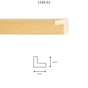 Moldura Lisa de perfil 1193, en acabado NATURAL. Tamaño de la moldura 35m x 30mm.