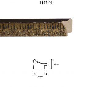Moldura Grabada de perfil 1197, en acabado ORO NEGRO. Tamaño de la moldura 37mm x 27mm.