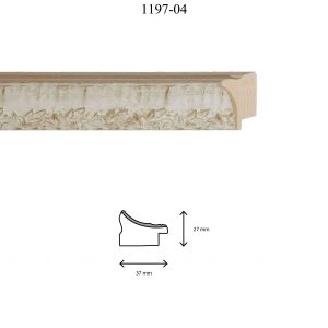 Moldura Grabada de perfil 1197, en acabado BLANCO. Tamaño de la moldura 37mm x 27mm.