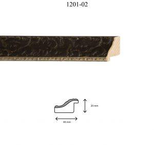 Moldura Grabada de perfil 1201, en acabado NEGRO F. PLATA. Tamaño de la moldura 40mm x 20mm.