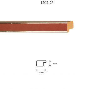 Moldura Lisa de perfil 1202, en acabado PLATA ROSA. Tamaño de la moldura 23mm x 14mm.
