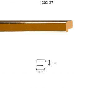 Moldura Lisa de perfil 1202, en acabado PLATA AMARILLO. Tamaño de la moldura 23mm x 14mm.