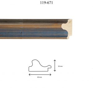 Moldura Lisa de Perfil 119, en acabado PLATA AZUL AGUA. Tamaño de la moldura 60mm x 30mm.