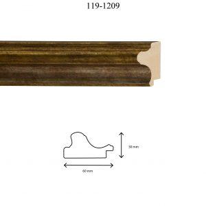 Moldura Lisa de Perfil 119, en acabado ORO E. PLATA. Tamaño de la moldura 60mm x 30mm.