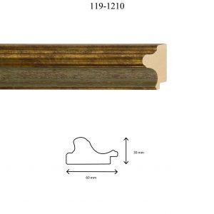Moldura Lisa de Perfil 119, en acabado ORO E. VERDE. Tamaño de la moldura 60mm x 30mm.
