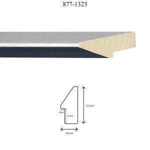 Moldura Lisa de perfil 877, en acabado NEGRO PLATA. Tamaño de la moldura 29mm x 62mm. Rebaje 25mm x 6mm.