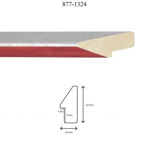 Moldura Lisa de perfil 877, en acabado ROJO PLATA. Tamaño de la moldura 29mm x 62mm. Rebaje 25mm x 6mm.