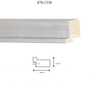 Moldura Lisa de Perfil 878, en acabado PLATA. Tamaño de la moldura 48mm x 27mm. Rebaje de 13mm x 7mm.