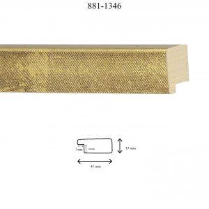 Moldura Grabada de Perfil 881, en acabado ORO. Tamaño de la moldura 41mm x 17mm. Rebaje de 10mm x 7mm.