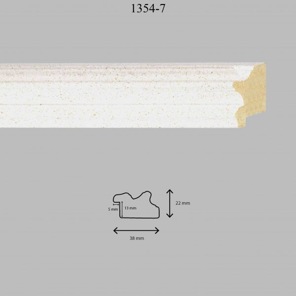 Moldura Lisa de Perfil 1354, en acabado BLANCO PASTA. Tamaño de la moldura 38mm x 22mm. Rebaje de 13mm x 5mm.