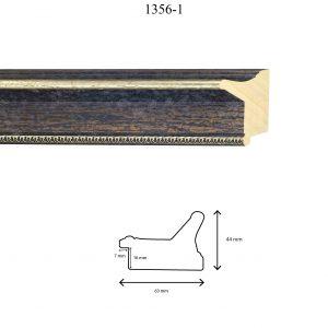 Moldura Grabada de Perfil 1356, en acabado NEGRO RÚSTICO PLATA. Tamaño de la moldura 63mm x 44mm. Rebaje de 16mm x 7mm.