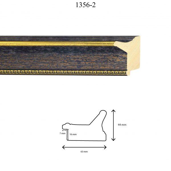 Moldura Grabada de Perfil 1356, en acabado NEGRO RÚSTICO ORO. Tamaño de la moldura 63mm x 44mm. Rebaje de 16mm x 7mm.