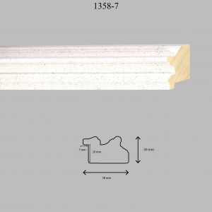 Moldura Lisa de Perfil 1358, en acabado BLANCO PASTA. Tamaño de la moldura 58mm x 30mm. Rebaje de 20mm x 7mm.