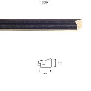 Moldura Lisa de Perfil 1359, en acabado NEGRO ANTIGUO FILO PLATA. Tamaño de la moldura 34mm x 24mm. Rebaje de 12mm x 6mm.