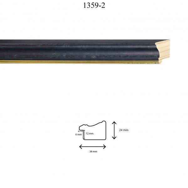 Moldura Lisa de Perfil 1359, en acabado NEGRO ANTIGUO FILO ORO. Tamaño de la moldura 34mm x 24mm. Rebaje de 12mm x 6mm.