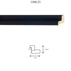 Moldura Lisa de Perfil 1360, en acabado NEGRO. Tamaño de la moldura 35mm x 25mm. Rebaje de 20mm x 5mm.