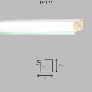 Moldura Lisa de Perfil 1361, en acabado DECAPE VERDE CLARO. Tamaño de la moldura 40mm x 35mm. Rebaje de 25mm x 6mm.
