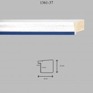 Moldura Lisa de Perfil 1361, en acabado DECAPE AZUL. Tamaño de la moldura 40mm x 35mm. Rebaje de 25mm x 6mm.