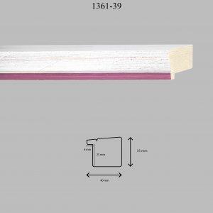 Moldura Lisa de Perfil 1361, en acabado DECAPE ROSA. Tamaño de la moldura 40mm x 35mm. Rebaje de 25mm x 6mm.