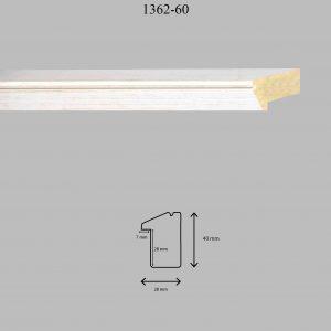 Moldura Lisa de Perfil 1362, en acabado BLANCO ROZADO. Tamaño de la moldura 28mm x 40mm. Rebaje de 27mm x 7mm.