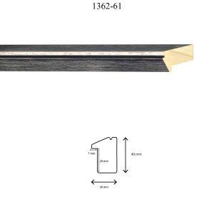 Moldura Lisa de Perfil 1362, en acabado NEGRO ROZADO. Tamaño de la moldura 28mm x 40mm. Rebaje de 27mm x 7mm.