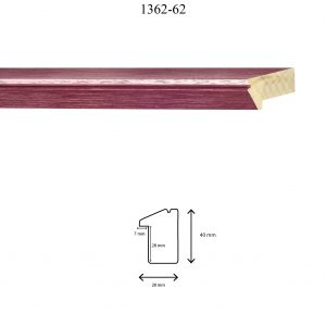Moldura Lisa de Perfil 1362, en acabado ROJO ROZADO. Tamaño de la moldura 28mm x 40mm. Rebaje de 27mm x 7mm.