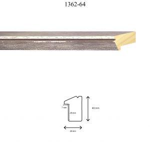 Moldura Lisa de Perfil 1362, en acabado MARRÓN ROZADO. Tamaño de la moldura 28mm x 40mm. Rebaje de 27mm x 7mm.