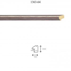 Moldura Lisa de Perfil 1363, en acabado MARRÓN ROZADO. Tamaño de la moldura 19mm x 22mm. Rebaje de 12mm x 6mm.