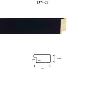 Moldura Lisa de Perfil 1374, en acabado NEGRO. Tamaño de la moldura 49mm x 20mm. Rebaje de 14mm x 7mm.
