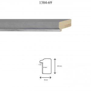 Moldura Lisa de Perfil 1384, en acabado GRIS GOTA F. PLATA. Tamaño de la moldura 30mm x 40mm. Rebaje de 30mm x 7mm.