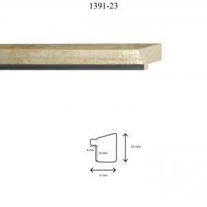 Moldura Lisa de Perfil 1391, en acabado PLATA F. CAFE. Tamaño de la moldura 31mm x 33mm. Rebaje de 20mm x 6mm.