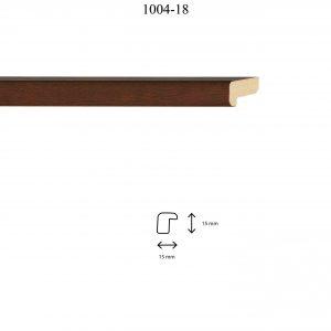 Moldura Lisa de perfil 1004, en acabado NOGAL. Tamaño de la moldura 11m x 18mm.