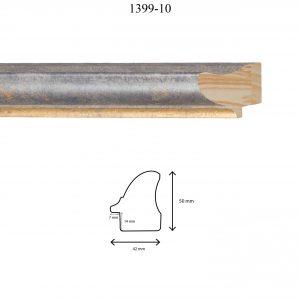 Moldura Lisa de Perfil 1399, en acabado GRIS FILO ORO. Tamaño de la moldura 42mm x 50mm. Rebaje de 14mm x 7mm.