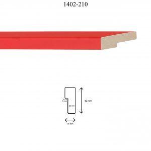 Moldura Lisa de Perfil 1402, en acabado NARANJA. Tamaño de la moldura 16mm x 42mm. Rebaje de 23mm x 5mm.