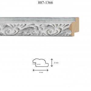 Moldura Grabada de perfil 887, en acabado PLATA PÁTINA BLANCA. Tamaño de la moldura 41mm x 21mm. Rebaje de 10mm x 7mm.