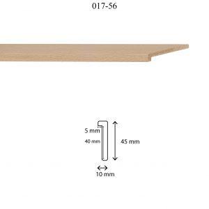 Moldura Lisa de perfil 017, en acabado HAYA NATURAL. Tamaño de la moldura 10mm x 45mm. Rebaje de 40mm x 5mm.