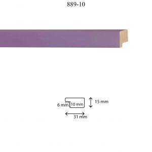 Moldura Lisa de perfil 889, en acabado LILA. Tamaño de la moldura 31mm x 15mm. Rebaje de 10mm x 6mm.