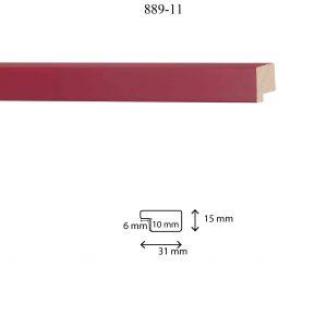 Moldura Lisa de perfil 889, en acabado ROJO OSCURO. Tamaño de la moldura 31mm x 15mm. Rebaje de 10mm x 6mm.