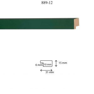 Moldura Lisa de perfil 889, en acabado VERDE BOSQUE. Tamaño de la moldura 31mm x 15mm. Rebaje de 10mm x 6mm.