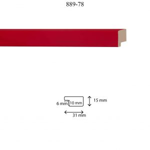 Moldura Lisa de perfil 889, en acabado ROJO. Tamaño de la moldura 31mm x 15mm. Rebaje de 10mm x 6mm.