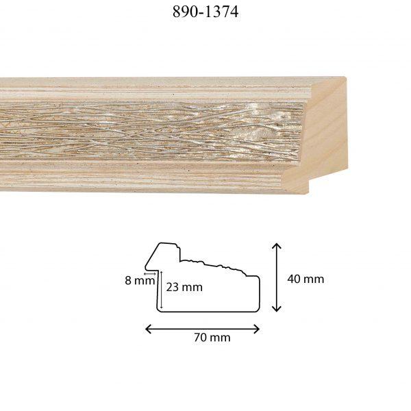 Moldura Grabada de perfil 890, en acabado DECAPE PLATA. Tamaño de la moldura 70mm x 40mm. Rebaje de 23mm x 8mm.