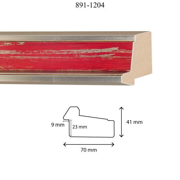 Moldura Lisa de perfil 891, en acabado PLATA E. ROJO. Tamaño de la moldura 70mm x 40mm. Rebaje de 23mm x 9mm.