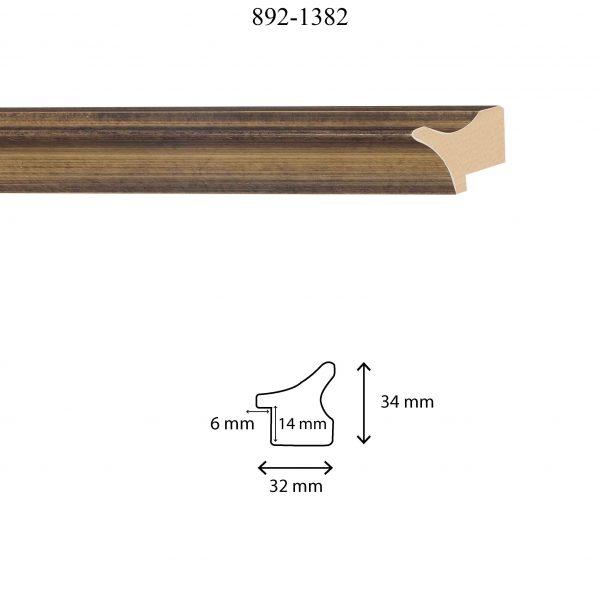 Moldura Lisa de perfil 892, en acabado ORO OSCURO. Tamaño de la moldura 32mm x 34mm. Rebaje de 14mm x 6mm.