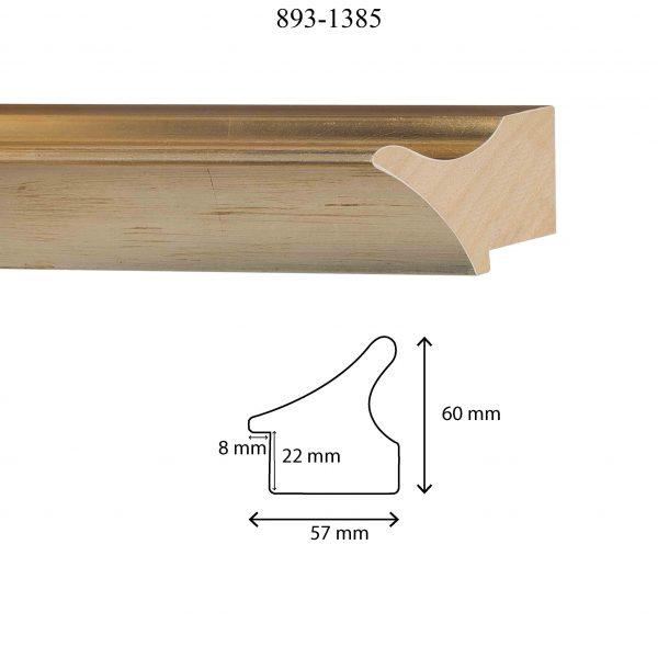 Moldura Lisa de perfil 893, en acabado ORO PLATA. Tamaño de la moldura 57mm x 60mm. Rebaje de 22mm x 8mm.