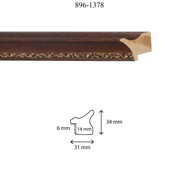 Moldura Grabada de perfil 896, en acabado NOGAL ORO. Tamaño de la moldura 31mm x 34mm. Rebaje de 14mm x 6mm.