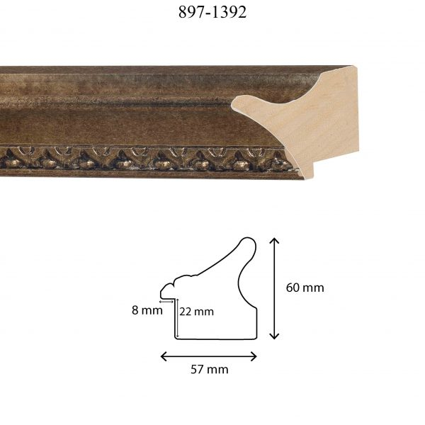 Moldura Grabada de perfil 897, en acabado PLATA. Tamaño de la moldura 57mm x 60mm. Rebaje de 22mm x 8mm.
