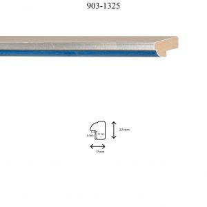Moldura Lisa de perfil 903, en acabado PLATA AZUL. Tamaño de la moldura 17mm x 22mm. Rebaje de 10mm x 5mm.